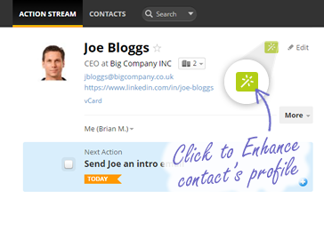 Enhance contacts with just one click